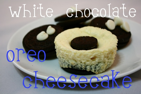 white chocolate oreo cheesecakes